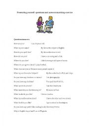 English Worksheet: Presenting yourself - questions and answer matching sheet
