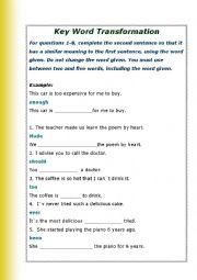 English Worksheet: Key Word Transformation Test