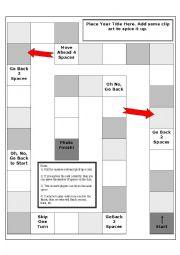 English worksheets: board game templates worksheets