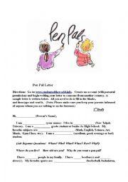 English Worksheet: Pen Pal Letter (For Beginning Students)