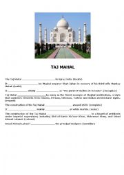 English Worksheet: Taj Mahal