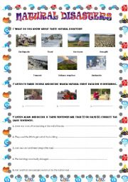 English Worksheet: NATURAL DISASTERS ( WITH AUDIO)