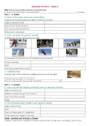 English Worksheet: Discover Canada - Festivals in Ottawa (video 2)
