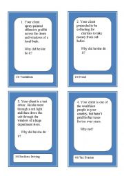 English Worksheet: Activity Cards and Role Play Game - Crime and Justice 1