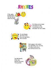 English Worksheet: Rhymes por kids