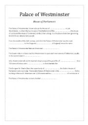 English Worksheet: Palace of Westminster and Big Ben