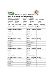 English Worksheet: World cup 2014 Capital cities quiz