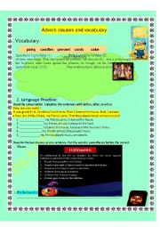 English Worksheet: Time adverbs: when, before and after