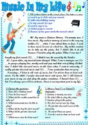 English Worksheet: Music In My Life