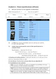 English Worksheet: iPhon and HTC information gap worksheet