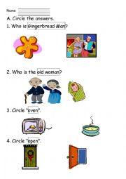 English Worksheet: Gingerbread Man Worksheet