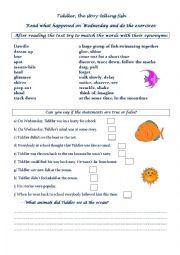 English Worksheet: Tiddler-The story telling fish, by Julia Donaldson