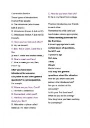 English Worksheet: Introducing yourself conversation practice