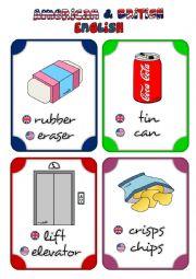 English Worksheet: American vs British English - flashcards (2/3)