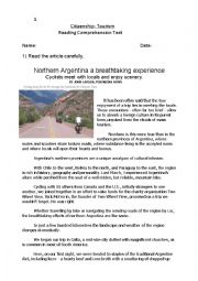 English Worksheet: TOURISM TEST 1 - Argentina