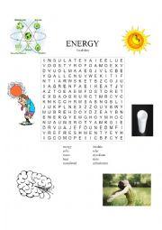 English Worksheet: Energy Wordsearch