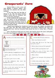 English Worksheet: Grandparents� Farm - reading