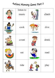 English Worksheet: Action Memory Game Part 1