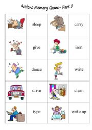 English Worksheet: Action Memory Game Part 2
