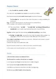 English Worksheet: purpose clause iworksheet