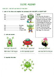 English Worksheet: I love aliens!