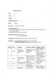 English Worksheet: examples of lesson plan