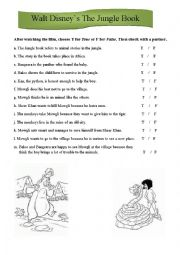 English Worksheet: The Jungle book, Walt Disney, video worksheet