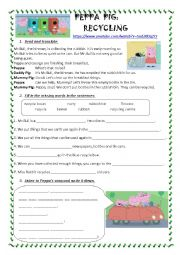 English Worksheet: Recycling with Peppa Pig