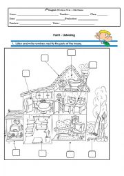 English Worksheet: Test 5th Grade Part 1