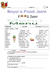 English Worksheet: eating out/ordering food