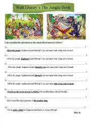 English Worksheet: The Jungle book, Walt Disney
