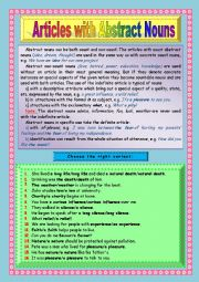 English Worksheet: Articles with Abstract Nouns