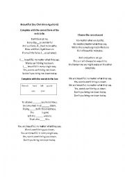 English Worksheet: Beautiful by Christina Aguilera