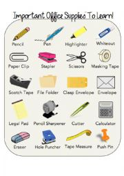 English Worksheet: Important Office supplies