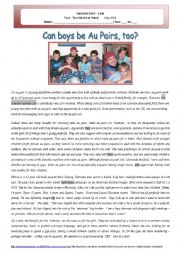 English Worksheet: Test - Can boys be Au pairs, too?