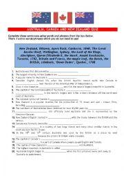 English Worksheet: AUSTRALIA, CANADA AND NEW ZEALAND QUIZ