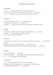 English Worksheet: WORD FORMATION (CAE) 1