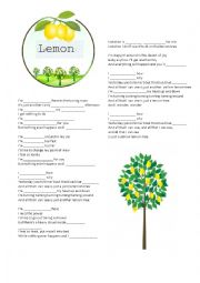 English Worksheet: Complete the song - Lemon tree
