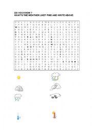 English Worksheet: Weather Crosswords