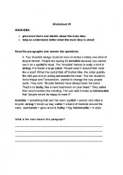 English Worksheet: Main Idea and Supporting Details