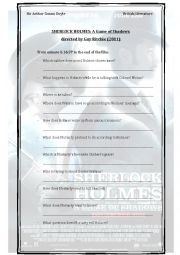 english worksheets sherlock holmes a game of shadows 2011 directed by guy ritchie final part. Black Bedroom Furniture Sets. Home Design Ideas