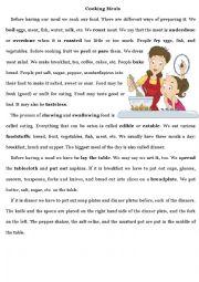 English Worksheet: Cooking Meals