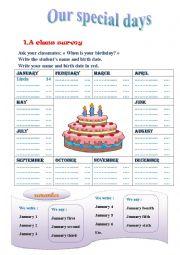 English Worksheet: birthday