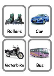English Worksheet: Means of transport Set of FlashCards