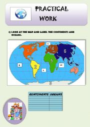 English Worksheet: Continents, oceans and cardinal points.