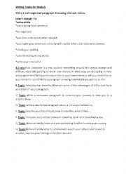 English Worksheet: Writing Topics for Grade 5