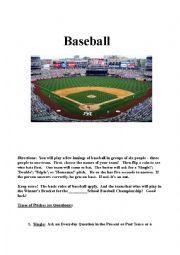 English Worksheet: Baseball Game  (Verbal Baseball)