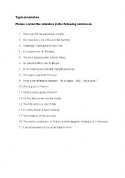 English Worksheet: Typical Mistakes that German Students Make