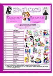 English Worksheet: Make Vs Do