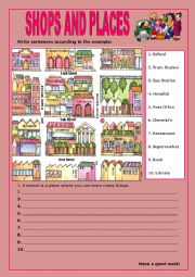 English Worksheet: Shops and Places:5